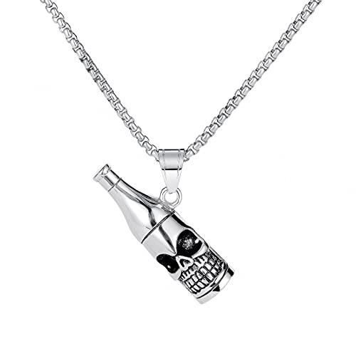 Collar Colgante Joyas personalizadas Retro Titanio Acero Cráneo Botella de vino Colgante en forma de collar de hombre de moda de la calle Collar amistad Aniversario San Valentín Regalo