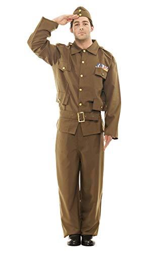 ORION COSTUMES Costume de déguisement de l'armée années 40 de la seconde guerre mondiale avec garde nationale marron kaki pour hommes