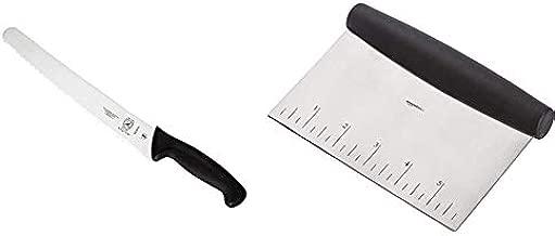 Mercer Culinary Millennia Wide Wavy Edge Bread Knife, 10-Inch, Black & AmazonBasics Stainless Steel Bowl Scraper/Chopper