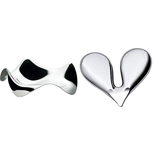 Alessi Blip PG02 - Posacucchiaio di Design in Acciaio Inox, Lucido & Nut Splitter JHT01 Schiaccianoci di Design in Acciaio Inox Lucido