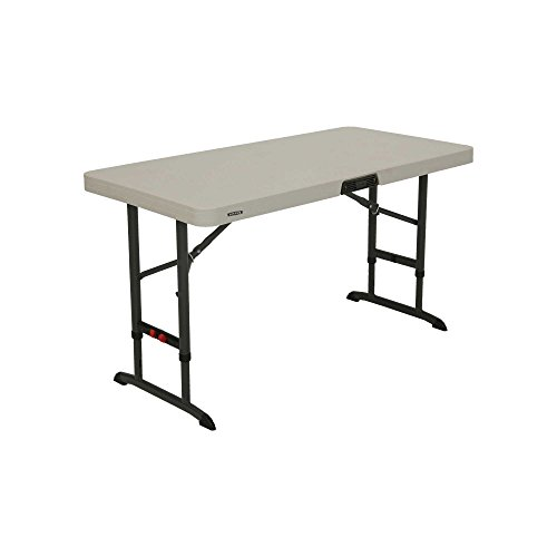 LIFETIME 80387 4-Foot Commercial Adjustable Folding Table, Almond