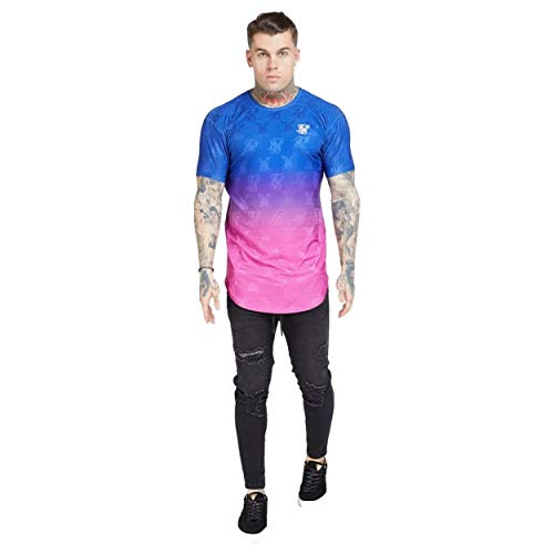 Siksilk Camiseta degradada Azul Rosa Neon Gym para Hombre (XS)