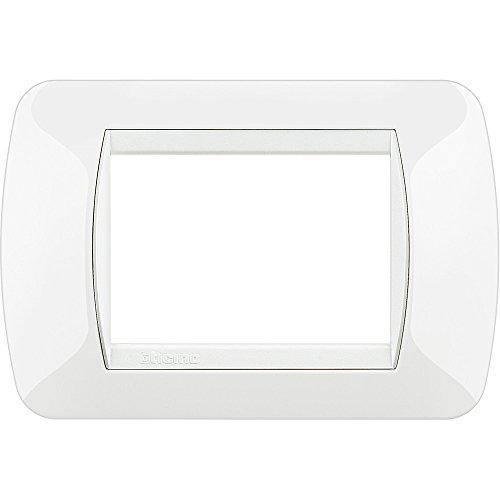 Bticino L4803BI Livinglight Placca Interruttore, 3M, Bianco, 3 Moduli