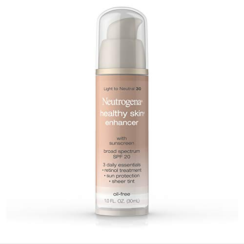 Neutrogena Healthy Skin Enhancer Sheer Face Tint with Retinol & Broad Spectrum SPF 20 Sunscreen for Younger Looking Skin, 3-in-1 Daily Enhancer, Non-Comedogenic, Light to Neutral 30, 1 fl. oz