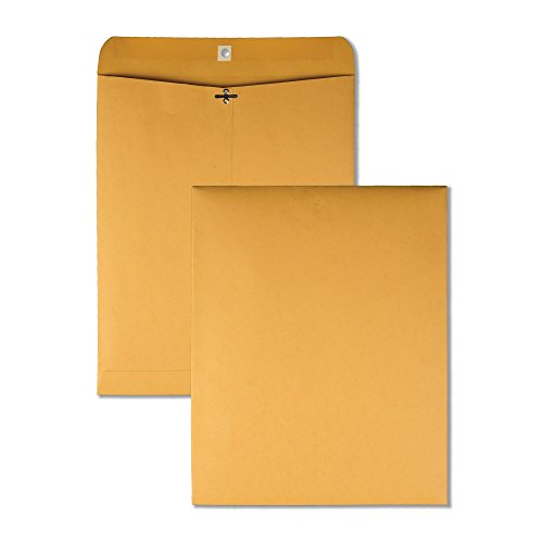 "Quality Park 11-1/2"" x 14-1/2"" Clasp Envelopes, Brown Kraft, Gummed Flap, 100/Box (QUA37805)"