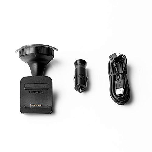 Soporte de parabrisas TomTom Click & Go más cargador para coche y cable USB para modelos anteriores a TomTom GO y Trucker (consulte la lista de compatibilidad a continuación)