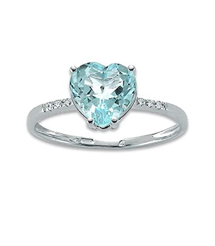 Miluna Anello Oro Bianco diamanti e topazio Gemma del Cielo LID3286X