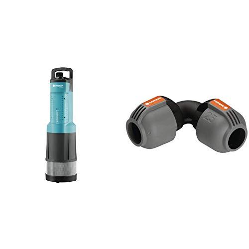 GARDENA Comfort Tauch-Druckpumpe 6000/5 automatic: Tauchpumpe mit 6.000 l/h Fördermenge & Sprinklersystem L-Stück: Rohrverbinder, 25 mm, kompatibel mit GARDENA Verlegerohre 25 mm