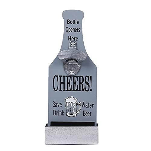 Inchoi Abrebotellas montado en la pared con captador colector de tapa, abridor de botellas de cerveza con tablero magnético, gris