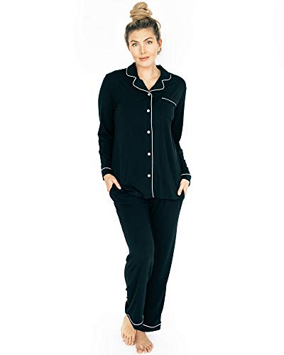 Kindred Bravely Clea Bamboo Classic Long Sleeve Maternity & Nursing Pajama Set (Black, Medium)