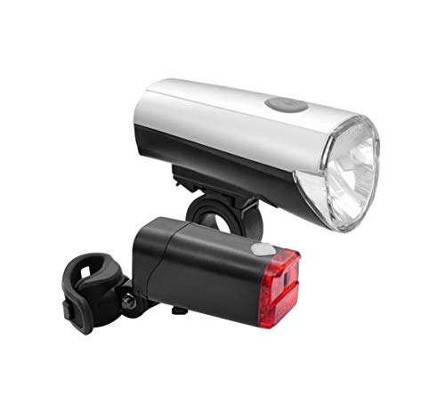 FISCHER LED Beleuchtungsset Fahrrad | 30/15L Lux Frontlicht | Rücklicht | universelle Halterung | bis zu 50.000 Stunden Lebensdauer | silber