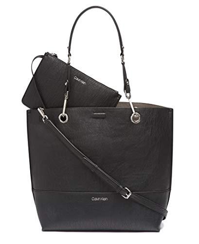 Calvin Klein Damen Sonoma Reversible Novelty North/South Tote Tragetasche, schwarz/Silber, Einheitsgröße