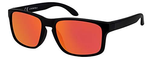 La Optica B.L.M. Sonnenbrille Herren UV400 Retro Sportbrille Fahrradbrille - Matt Transparent (Rot Verspiegelt)