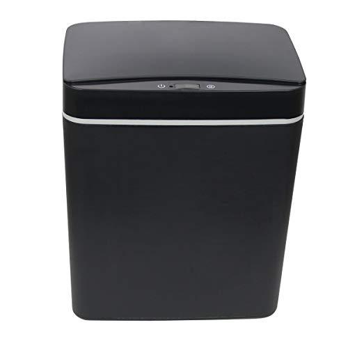 Sarsen&Co - Cubo de basura automático de 15 litros, color negro, con tapa de sensor, para oficina, cocina, baño, cubo de basura higiénico, recargable, con cable USB