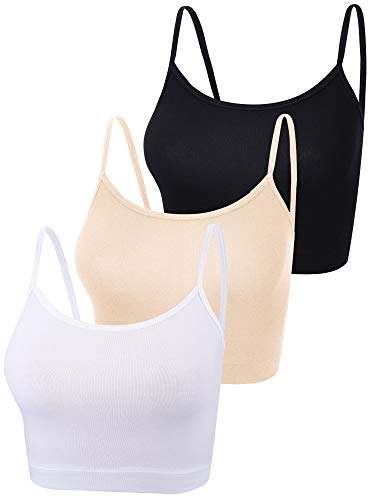 3 Pieces Spaghetti Strap Tank Camisole Top Crop Tank Top for Sports Yoga Sleeping (Black, White, Skin Color, Large)