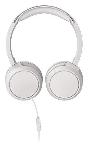 Philips Audio On Ear Kopfhörer TAH4105WT/00 mit Mikrofon (Inline-Fernbedienung, Zusammenklappbar, Abgewinkelter Anschluss, Gepolsterter Bügel, Geräuschisolierung) - Weiß 2020/2021 Modell, One Size