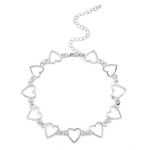 CUSROS Collar de cadena de gargantilla con forma de corazón geométrico simple para mujeres y niñas, elegante regalo de plata 1