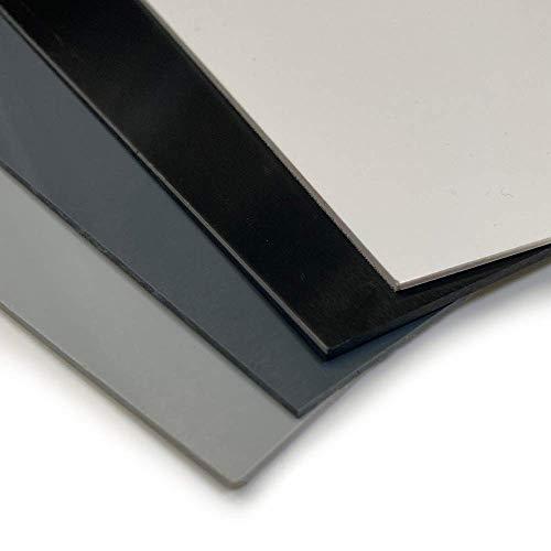 BUNDLE SET Hart PVC Kunststoffplatte - 2000x1000mm - Kunststoffplatten weiß schwarz grau - 1mm/2mm Hartplatte PVC Kunststoff Platte (2000x1000x1mm, hellgrau, 1)