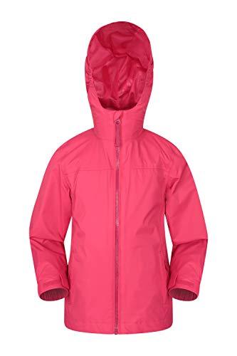 Mountain Warehouse Torrent wasserdichte Kinderjacke - versiegelte Nähte, Reißverschlusstaschen, verstellbare Funktionen - ideal zum Reisen, Campen, Wandern, Frühling Rosa 11-12 Jahre