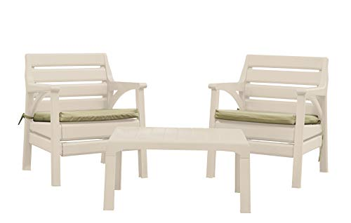 Superio - Premium Weather Resistant Patio Furniture Set | Cushioned Chairs & Accent Outdoor Table | 4 Color Options to Match Your Decor & Yard | Backyard Poolside Furniture (Cappuccino)