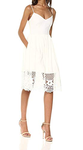 French Connection Women's Strappy Jersey LACE Dress, Summer White Salerno, 0