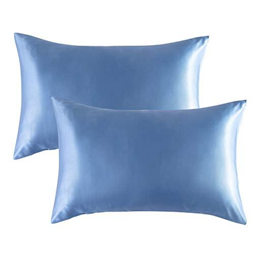 Bedsure - Funda de almohada de satén beneficiosa para cabello y piel, cierre de sobre, tamaño estándar (51 x 66 cm), 2 unidades, color azul etéreo