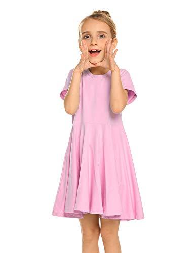 Trudge Mädchen Swing Kleider für Kinder Sommerkleid Hem Skaterkleid Kurzarm T Shirt Kleid Baumwolle Prinzessin Kleid einfarbig Basic FatternKleid Rundhals Freizeitkleidung Gr.92-164, Rosa, 140