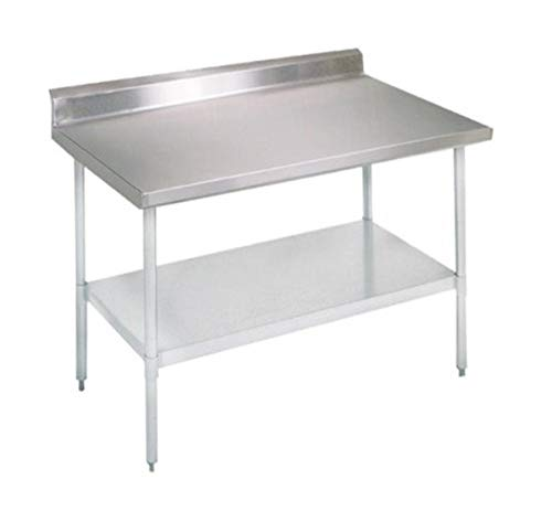 John Boos E Series Stainless Steel 430 Budget Work Table, Adjustable Undershelf, 5″ Riser Top, Galvanized Legs, 48″ Length x 30″ Width