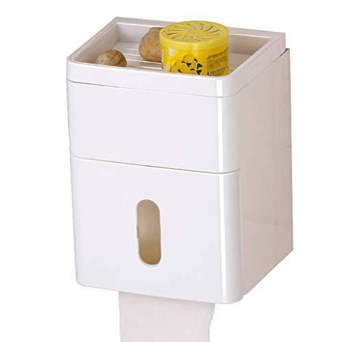 SMEJS Toilettes Post-it Porte-Papier, Toilettes en Plastique Moderne Porte-Papier avec Support de téléphone, Salle de Bains Accessoires de Cuisine Rangement-Montage Mural, étanche