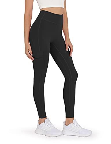 ODODOS Women's High-Rise Cargo Pockets Yoga Pants Full-Length Workout Yoga Cargo Legging, Black, X-Large