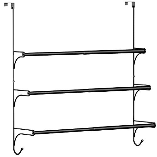 Auledio Adjustable Over The Door Triple Towel Rack with Hooks,Black