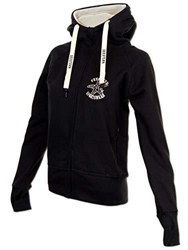 SEESTERN Damen Kapuzen Sweat Shirt Jacke Pullover Zip Hoody Sweater Gr.XS-XXL /1423 Schwarz XS