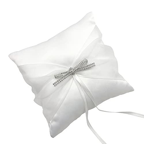 Kstyhome Anillo de Boda Almohada Anillo Almohada Cojín Cinta de Encaje Decoración de Perlas de Cristal para Banquete de Boda