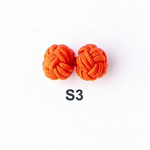 SYDDD Seidenknoten Manschettenknöpfe einfarbig handgefertigt elastisch Doppelseil Ball Manschettenknöpfe Herrenhemd Werbegeschenk Dekoration-S3