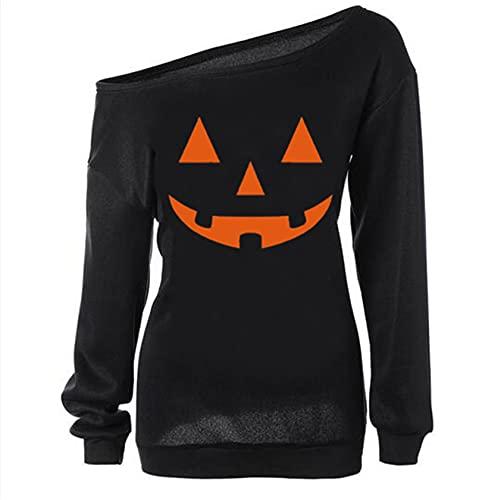 Lymanchi Women Slouchy Shirts Halloween Pumpkin Long Sleeve Pullover Sweatshirts Black M