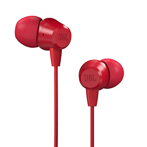 JBL T50HI in-Ear Wired Headphone with Noise Isolation Mic (Red)
