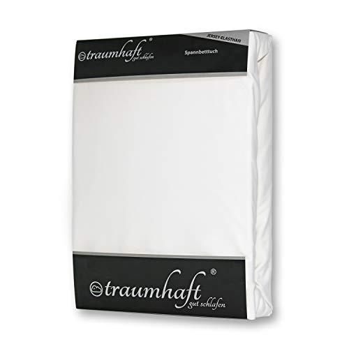 Traumhaft gut schlafen, Spannbettlaken aus Baumwolle, hohe Flexibilität dank 5% Elasthananteil Größe 140-150 cm x 180-220 cm, Farbe Weiß