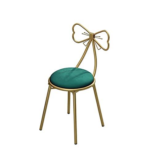Taburete nórdico con respaldo de mariposa para dormitorio, estudio o tienda de té de leche, silla de cuatro colores (tamaño: 45 cm, color: verde)