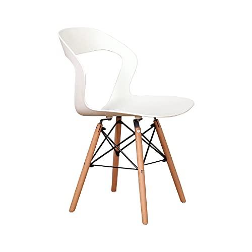 Juego de 4/8 sillas de comedor Sillas de cocina de plástico Patas de madera maciza sillas de salón ergonómicas de espalda abierta sillas de jardín (Blanco-B, 4)