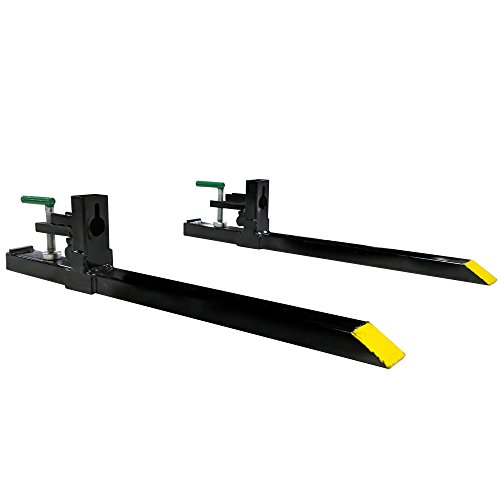 "Titan 30"" Clamp-on Pallet Forks Attachment for Small Tractor/Skid Steer Buckets"
