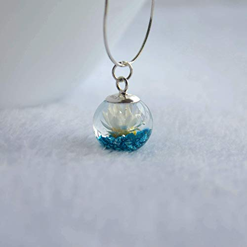 Daisy Real Flower Blue Treasure Island Mineral Pendant 925 Sterling Silver Snake Chain Necklace