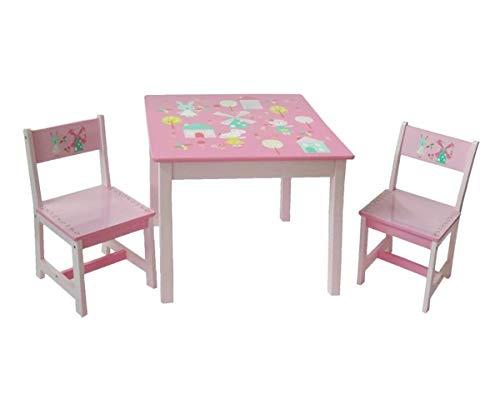 Style home Kindersitzgruppe Kindertisch mit 2 Kinderstühlen Holz Sitzgruppe 1 Tisch und 2 Stühle für Kinder Mädchen und Jungen, 17GD-001 Hase und Windmühle