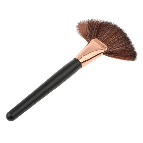 Maquillage Pinceau Maquillage Professionnel Fan Brosse Pour Le Visage Surligneur Fard À Joues Powder Contour Bronzer Pommettes -1pc Noir
