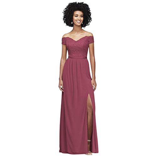 Off-The-Shoulder Lace and Mesh Bridesmaid Dress Style F19950, Chianti, 14