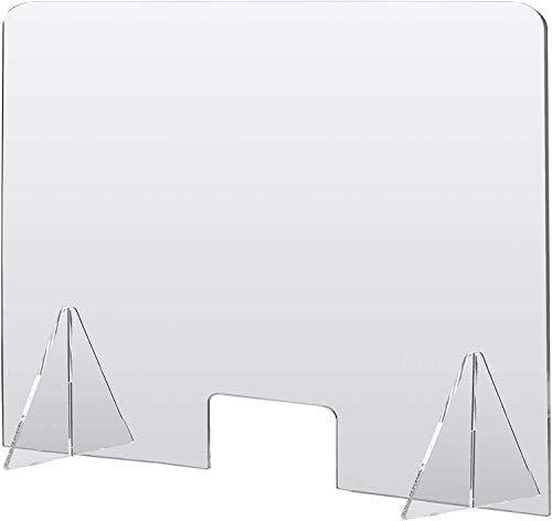 Mampara Metacrilato Mostrador Mampara para Oficinas Mesa Protección Sobremesa Transparente Estable Portátil Con Ventanilla Para puestos de Atención al cliente Envío Rápido (Pack 2 90x60)