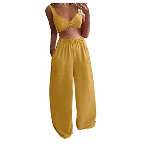 DQAW Mujeres Bohemia Mariposas Estampadas Cintura Alta Sexy Tub Top Ancho Pierna Cordon Pantalones con Bolsillos Conjunto de Dos Piezas Amarillo 1 M