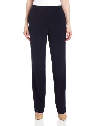 Briggs New York Women's Pull On Dress Pant Average Length & Short Length, Navy, 18