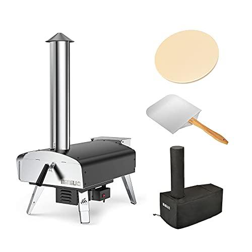 Mimiuo Horno Pizza con Pala y Piedra para Pizza, Horno pellets Portáti Premium para el jardín Exterior Patio con Sistema automático de Grill rotativo(Patente Global)