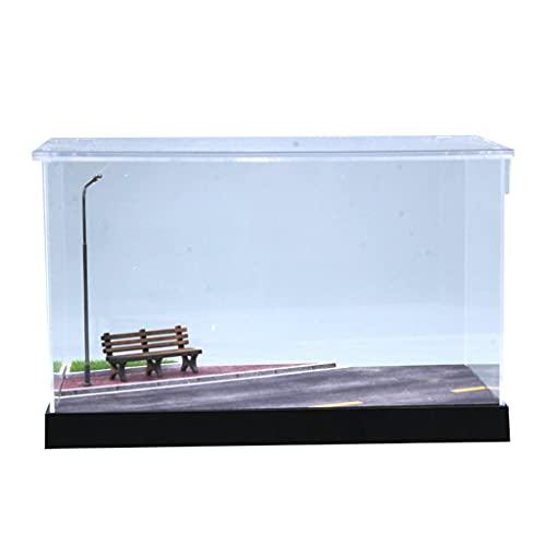 Generic Vetrina in Acrilico Trasparente Parcheggio Scena Storage Show Box Base in Legno Decorazione da Tavolo Ornamento