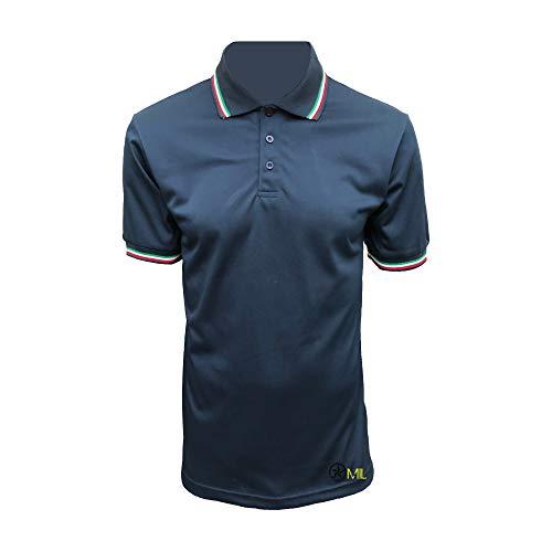 ALGI Polo Maniche Corte con Bordo Tricolore Polipropilene Blu Navy